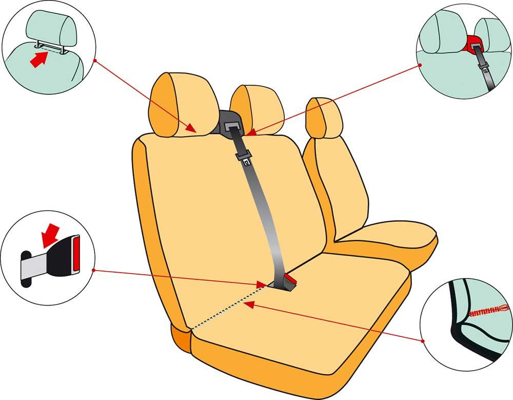 Housses sièges pour fourgon. Détails, TOP modèle 206