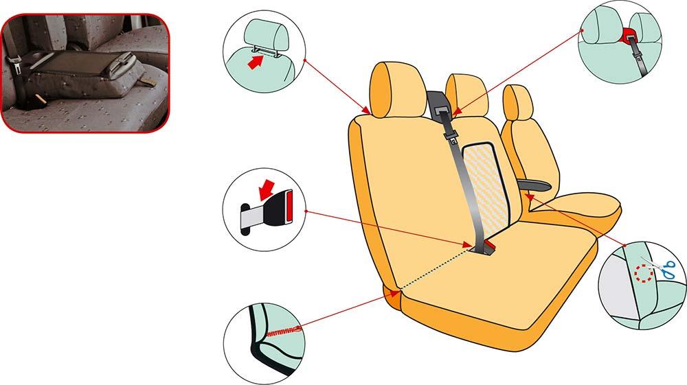 Housses sièges pour fourgon. Détails, TOP modèle 207