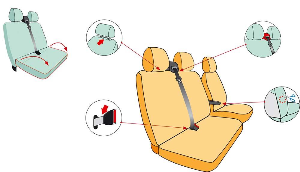 housses sièges pour VW transporteur T6