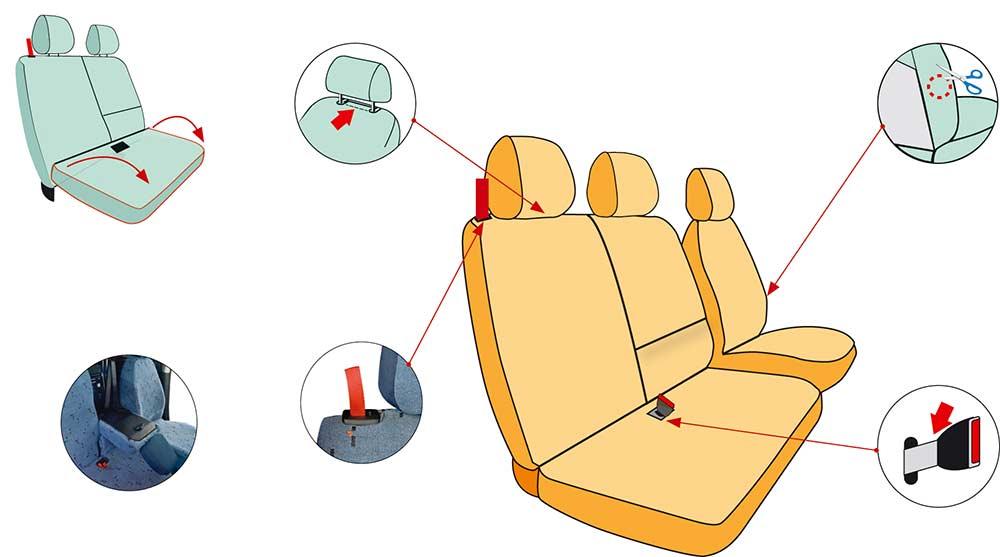 housses sièges pour Fiat Doblo Cargo